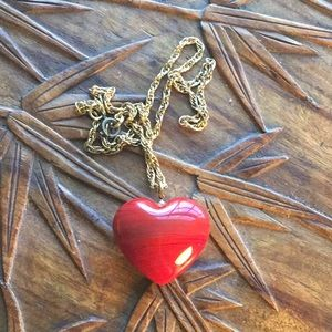 Vintage Red Agate Heart Necklace